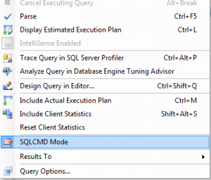 Selecting SQLCMD Mode from the Query Menu