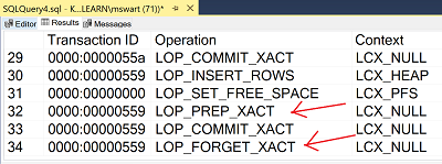 Transaction log output